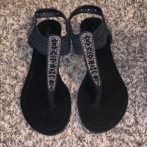 Madden girl black beaded sandals